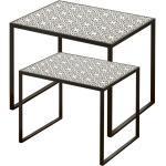 Ensemble de 2 tables de salon Beistell, ornements de motifs noir et blanc Boltze 7406100