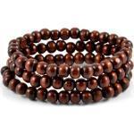 Ensemble de trois bracelets de perles brunes