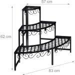 Escalier fleurs rond étagère plantes demi lune support métal banc jardin 3 niveaux pour plantes 3 étages noir 13_0001182