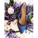 Escarpin Bleu Jeans, Bride Arrière Jeans , Escarpin Pointu Femme, Bout Bleu, Chaussures Cuir Italie, Albion