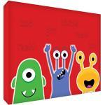 Feel Good Art Monstres Toile sur Cadre Mural de Style Moderne/Illustratif Rouge 40 x 30 x 4 cm Taille Moyen