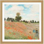 FINE ART PRINTS Claude Monet Poppy Field with People Tableau Mural carré en Bois 40,6 x 40,6 cm