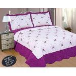 ForenTex Jeté de lit 135 cm brodé Floral décoratif Style Volant avec Deux taies d'oreiller 70 mm – 2611, Violet, 235 x 260 cm