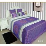 ForenTex M-2549 Couvre-lit réversible pour lit de 150 cm Motif Cousu Printemps/été Violet 240 x 260 cm