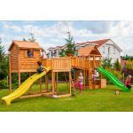 Fungoo Aire de Jeux en Bois de Pin Traité Cabane + 2 Toboggans Sized Plaza - 3527