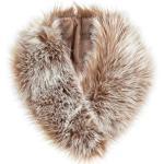 Futrzane Echarpe Fausse Fourrure de Renard Dames Châle Col en Fourrure d'hiver (Brun avec Blanc)
