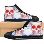 Goth Skull Women's High-Top Sneakers, Witch Women Shoes, , Punk Workout Sneaker , Witchy Sneakers, Grunge Sport Shoes, Gothic Running Shoes