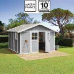 Grosfillex Abri de jardin en PVC 11,2m² DECO gris clair et blanc Grosfillex + Kit ancrage offert