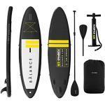 Gymrex Planche De Sup Stand Up Paddle Gonflable Board GR-SPB365 (145 kg, Noir/Jaune, PVC à Mailles Coulées Dropstitch, Tapis EVA, Pagaie, Leash, Acessoires)