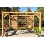 Habrita Pergola bioclimatique en bois Douglas 10,58 m² - Façade - VTDO 3431 V