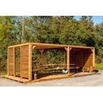 Habrita Pergola en Bois d'Épicéa Traité avec Ventelles Mobiles 20 m² - THO 3562 VVT