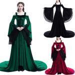 Halloween Medieval Rétro Élégante Robes En Dentelle Epaule Nu Robes De Soiree Deguisement Reine Longue Moulante Costume Robe