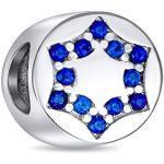 Hanukka CZ Bleu Religieux Juif Étoile De David Pour La Femme Charms Et Perles Ados Argent Bracelet Européen