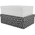 HEMA 2 Boîtes De Rangement En Carton Pois Noir/blanc