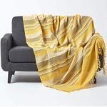 HOMESCAPES Jeté de lit/Jeté de canapé Jaune à Rayures de 230 x 255 cm en Pur Coton appartenant à la Collection Stripes
