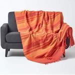 HOMESCAPES Jeté de lit/Jeté de canapé Orange à Rayures de 230 x 255 cm en Pur Coton appartenant à la Collection Stripes