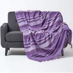 HOMESCAPES Jeté de lit/Jeté de canapé Violet à Rayures de 150 x 200 cm en Pur Coton appartenant à la Collection Stripes