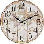 Horloge murale perla pd design - Pour la cuisine - Avec motif vintage - Diamètre approximatif : 28cm, Bois, Motif carte du monde