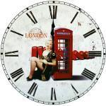 Horloge murale rétro decoration Londres chiffres romains salle de séjour appartement chambre
