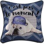 Housse de Coussin Doggy Cool 40x40cm Bleu - Paris Prix