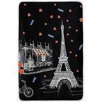 Hunihuni Couvre-lit en peluche légère et chaude Motif Tour Eiffel et cœur