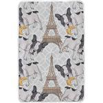 Hunihuni Couvre-lit léger et chaud en peluche Motif Tour Eiffel
