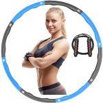 iAmotus Hula Hoop, Hula Hoop Fitness 8 Sections Cerceau de Adulte Démontable avec Corde à Sauter Ventre pour Formation Adultes Amincissant Amateur Calorie Brulante (Bleu Gris-2)