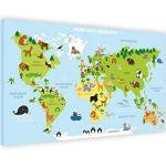Impression sur toile représentant une carte du monde pour enfants - 100 x 70 cm - Motif carte du monde pour enfants - Inscription en allemand - Cadeau - Décoration pour chambre d'enfant - 100 x 70 cm