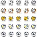 incaton Piercing Boule 25 Pcs Boule de Remplacement Piercing 14G 1.6mm Boule Piercing Langue Teton Nombril Labret Levre Bouche Industriel Balles de Rechange Piercing 5mm