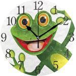 ISAOA Horloge murale moderne et silencieuse avec motif grenouille vert joyeux avec grand œil, horloge de bureau ronde pour chambre à coucher, enfants, salon, cuisine