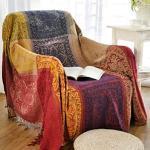 Jbsceen Grand Plaid et Couvre-lit en Coton, Jeté de canapé Dessus de lit en Coton Naturel, Coton Couverture canapé Simple (Rouge, 220 260cm)