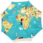 Jeansame Parapluie inversé double couche coupe-vent avec poignée en forme de C pour utilisation en voiture Hommes Femmes Été Océan Mer Méditerranée Animal Carte du Monde
