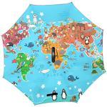 Jeansame Parapluie inversé double couche coupe-vent avec poignée en forme de C pour utilisation en voiture Hommes Femmes Été Océan Mer Méditerranée Mer Animaux Mignon Carte du Monde