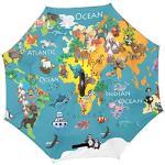 Jeansame Parapluie inversé double couche coupe-vent avec poignée en forme de C pour utilisation en voiture Hommes Femmes Océan Poisson Mer Animaux mignons Carte du monde