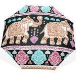 Jeansame Vintage Elephant Ethnique Mandala Floral Fleur Pliable Compact Parapluie Soleil Pluie Manuel parapluies pour Femmes Hommes Enfants Garçon Fille