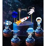 JeVenis Lot de 28 décorations pour cupcakes Motif astronaute de l'espace, décoration de gâteaux, décoration de gâteaux, décoration de gâteaux pour fête, anniversaire, fête prénatale