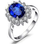 JewelryPalace Princesse Diana William Kate Middleton's 2.8 ct Bleu Saphir de Synthèse Bague de Fiançailles en Argent 925