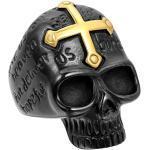 JewelryWe Bague Fantaisie Crâne Gothique Tête de Mort avec Croix Or en Acier Inoxydable Anneau pour Homme #13 Taille de Bague 70