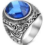 JewelryWe Bague Fantaisie Unisex Fleur de Rayures en Acier Inoxydable Anneau pour Homme et Femme de Couleur Bleu #13 Taille de Bague 70