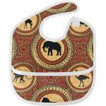 Joli bavoir à motif de dessin animé pour bébé - Imperméable - Motif éléphant africain - Séchage rapide - Confortable pour les garçons et les filles - Poche avant réglable