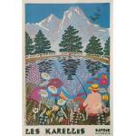 Jolie Affiche Originale Vintage - Circa 1980 Station De Montagne Les Karellis En Savoie Pêche Lac Art Artiste A. Lainé Poster