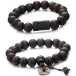 Jstyle 2-3 Pcs 11mm Bracelets Tibétain Bouddhiste Buddha Mala Chinois Bracelet Elastique Perles en Bois pour Les Hommes et Les Femmes Lien Poignet