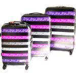 Keith Haring [M6429] - Set de 3 valises Trolley ABS 'Keith Haring' Noir Violet (51/61/71 cm)