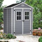 Keter Abri de jardin en résine 2,8m² gris clair Premium 65 DPF + plancher Keter
