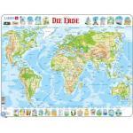 Larsen Puzzle Cadre - Carte du Monde (en Allemand)