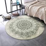 LEEVAN Tapis rond traditionnel en laine de 1,2 m avec envers antidérapant pour canapé, salon, chambre à coucher, décoration d'intérieur moderne