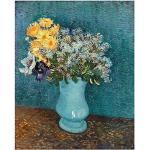 Legendarte Tableau, Impression sur Toile - Vase avec Lilas, Marguerites Et Anémones Vincent Van Gogh cm. 60x80
