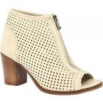 Leonardo Shoes Bottines à bout ouvert pour femmes faits à la main en cuir nappa perforé blanc avec fermeture à glissière 3601 STONE