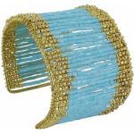 LES POULETTES BIJOUX Bracelet Manchette Laiton et Perles - Classics - Bleu ciel