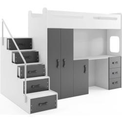 Lit mezzanine MAX 4 en 80x200 avec bureau, armoire, matelas, sommier et escalier en blanc+gris
